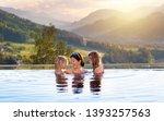 mother and kids play in outdoor ... | Shutterstock . vector #1393257563