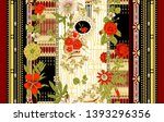 colorful flowers and stylish... | Shutterstock . vector #1393296356