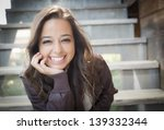 portrait of a pretty mixed race ... | Shutterstock . vector #139332344