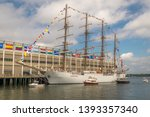 a tall ship docked in boston's... | Shutterstock . vector #1393357340