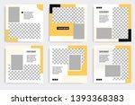 six set editable minimal square ... | Shutterstock .eps vector #1393368383