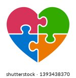 heart puzzle with 4 pieces or... | Shutterstock .eps vector #1393438370