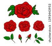 set of vector drawing rose...   Shutterstock .eps vector #1393443953