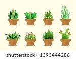 set of green plant pot in flat...   Shutterstock .eps vector #1393444286