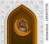 ramadan kareem with moon... | Shutterstock .eps vector #1393475720