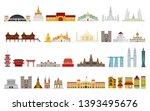 landmarks of asia. cityscape ... | Shutterstock .eps vector #1393495676