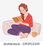 cute girl reading a book  | Shutterstock .eps vector #1393512143