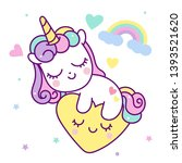Stock vector cute unicorn vector pony cartoon with heart magic sleeping time for sweet dream kawaii style with 1393521620