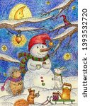 Stock photo  a snowman drinks tea with a hare a hedgehog and a squirrel a hand illustration in ink and 1393532720