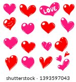 set of red hearts icons. vector ... | Shutterstock .eps vector #1393597043