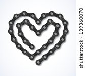 Bicycle Chain Heart. Vector.