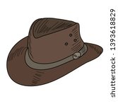 men's hat with brim  contour... | Shutterstock .eps vector #1393618829