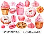 set of of cakes  meringues ...   Shutterstock . vector #1393623686