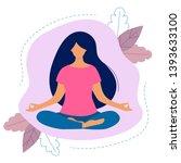 woman doing yoga. lotus pose... | Shutterstock .eps vector #1393633100