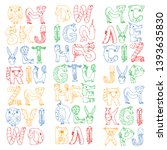 animal alphabet. letters from a ... | Shutterstock .eps vector #1393635830