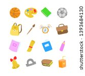 school flat vector icons on... | Shutterstock .eps vector #1393684130