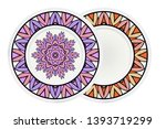 Set of two round decoration frame and mandala ornament. vector illustration.