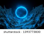 illuminated blue round frame... | Shutterstock . vector #1393773830