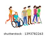 collection of disabled people... | Shutterstock .eps vector #1393782263