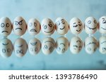 vintage eggs with smiles drawn... | Shutterstock . vector #1393786490