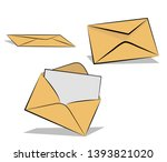 envelope with a letter and... | Shutterstock .eps vector #1393821020