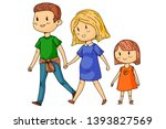 cartoon family with pregnant... | Shutterstock .eps vector #1393827569