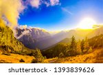 sunset mountain valley... | Shutterstock . vector #1393839626