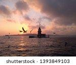 sunset in istanbul  maiden's... | Shutterstock . vector #1393849103