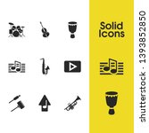 music icons set with saxophone  ...