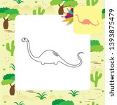cute dino coloring page. vector ... | Shutterstock .eps vector #1393875479