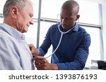 doctor listening to chest of... | Shutterstock . vector #1393876193
