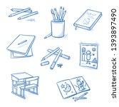 set of school art class objects ... | Shutterstock .eps vector #1393897490