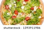 tasty pizza with cheese ... | Shutterstock . vector #1393911986