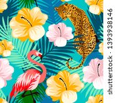 floral jungle flamingo  leopard ... | Shutterstock .eps vector #1393938146