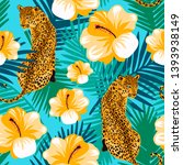 floral jungle leopard seamless... | Shutterstock .eps vector #1393938149