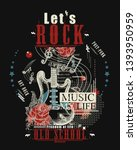 rock music print. electro... | Shutterstock .eps vector #1393950959