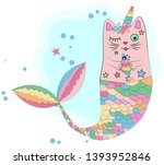cat unicorn with a mermaid's... | Shutterstock .eps vector #1393952846