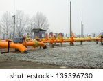 orange gas pipe in frosted... | Shutterstock . vector #139396730