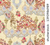 seamless ethnic paisley with... | Shutterstock . vector #1393986989