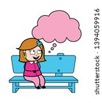 sitting and dreaming   retro... | Shutterstock .eps vector #1394059916