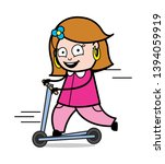 playing with skateboard   retro ... | Shutterstock .eps vector #1394059919