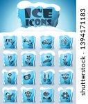 flowers vector icons frozen in... | Shutterstock .eps vector #1394171183