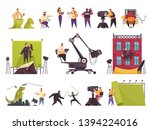 cinema movie production flat... | Shutterstock .eps vector #1394224016