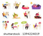 freelancer at work flexible... | Shutterstock .eps vector #1394224019