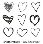 grunge hearts on isolated white ... | Shutterstock .eps vector #1394231930
