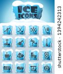 ice rink vector icons frozen in ... | Shutterstock .eps vector #1394242313