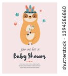 baby shower card with cuter... | Shutterstock .eps vector #1394286860