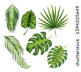 exotic jungle plant leaves... | Shutterstock .eps vector #1394335649