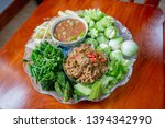 Stock photo fried mackerel with shrimp paste sauce and scald vegetable nam prik kapi pla too thai food 1394342990