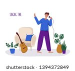 young guy or man and his hobby... | Shutterstock .eps vector #1394372849